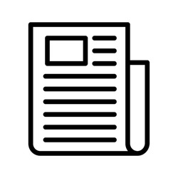 flat black newspaper vector icon on white background