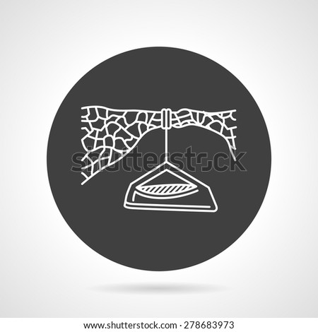Flat black round vector icon with white line hanging tent for extreme sport on gray background