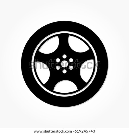 flat black wheel and tire with rim and shadow effect #619245743