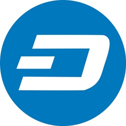 Flat blue Cryptocurrency Dash Coin Concept Icon