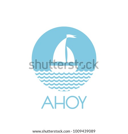 Flat blue silhouette of boat with two sails on the water. Isolated on white in circle. Powder blue background. Summertime  marine greeting card. Travel logo. Vector illustration.