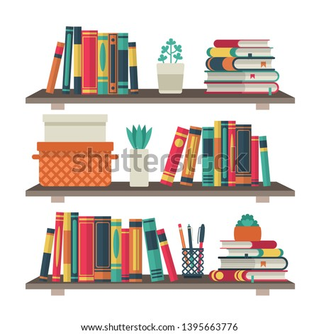 Flat bookshelves. Shelf book in room library, reading book office shelf wall interior study school bookcase and bookshelf vector background