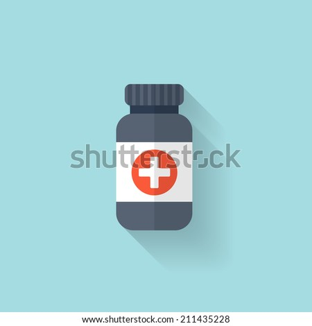 flat bottle with medical pills