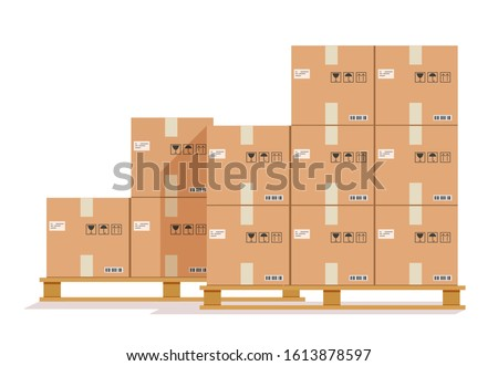 Flat boxes pallet. Cardboard box, cargo wood pallets and parcels. Warehouse stack cartons for delivery. Vector paper containers illustration
