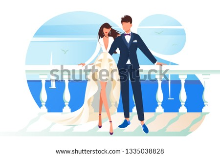 Flat bridal frame with woman bride and man groom. Concept couple characters on background of the sea, isolated romance. Vector illustration.
