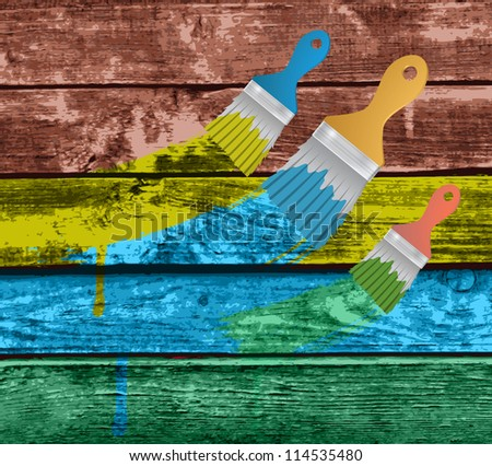 flat brushes with paint's splashes on a Colorful Vector Wooden Planks