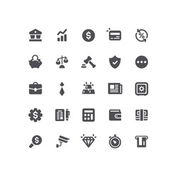 Flat Business Bank Office Icons