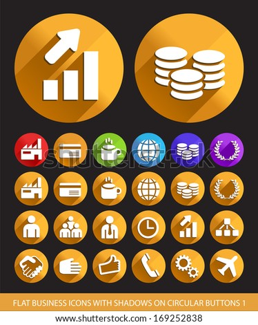 Flat Business Icons with Shadows on Circular Buttons 1.