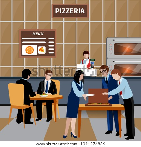 Flat business lunch people composition with workers and colleagues have lunch in a pizzeria vector illustration