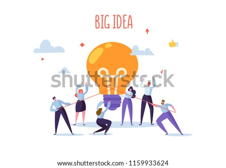 Flat Business People with Big Light Bulb Idea. Innovation, Brainstorming, Creativity Concept. Characters Working Together on new Project. Vector illustration