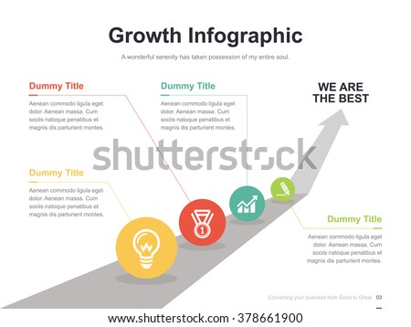 Flat business presentation vector slide template with arrow way diagram