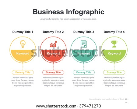 Flat business presentation vector slide template with circle diagram - Shutterstock ID 379471270
