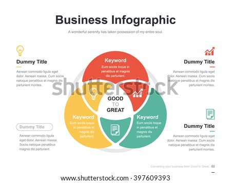 Flat business presentation vector slide template with circle venn diagram ストックフォト ©