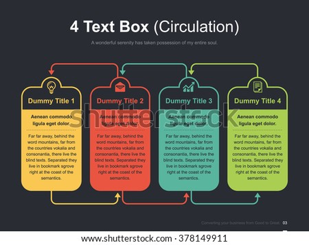 Flat business presentation vector slide template with circulation 4 text boxes diagram - Shutterstock ID 378149911