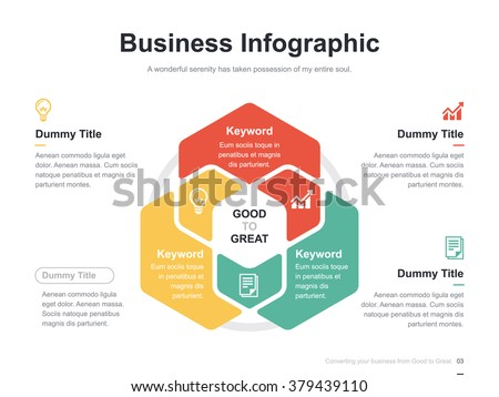 Flat business presentation vector slide template with hexagon venn diagram ストックフォト ©