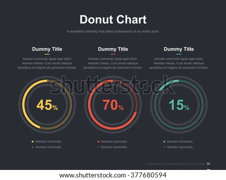 Flat business presentation vector slide template with pie chart