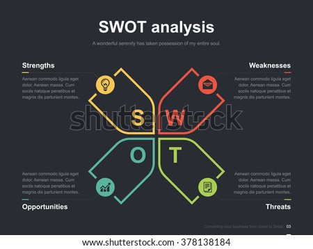 Flat business presentation vector slide template with swot analysis diagram
