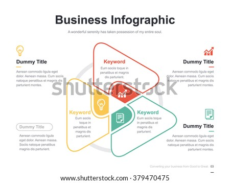 flat business presentation vector slide template with triangle venn diagram