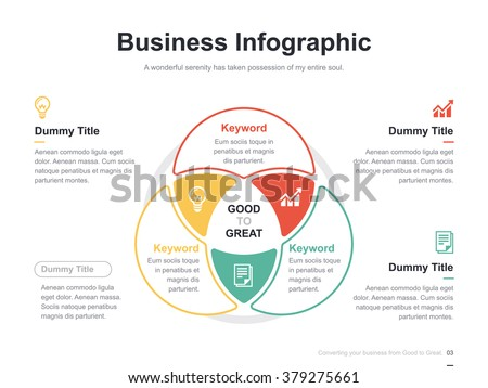 Flat business presentation vector slide template with venn diagram ストックフォト ©