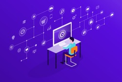 flat business technology internet cyber security and data security online network connection concept