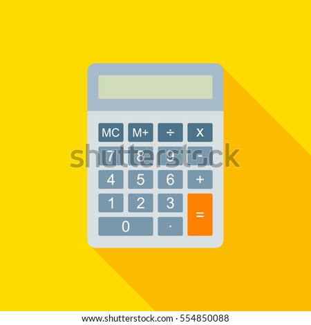 Flat Calculator Vector Illustration With Long Shadow