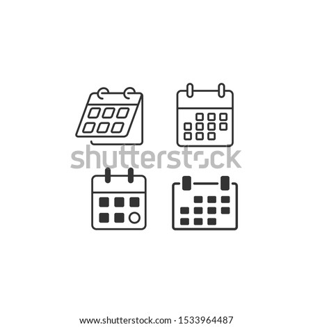 Flat calendar Web Mobile Icon vector sign isolated for graphic and web design. Calender on the wall symbol template color editable on white background.