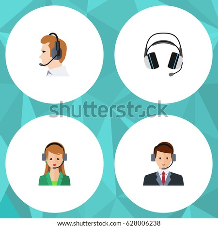 Flat Call Set Of Secretary, Earphone, Hotline And Other Vector Objects. Also Includes Earphone, Headset, Telemarketing Elements. Сток-фото ©