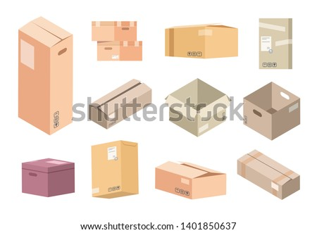 Flat cardboard boxes. Carton parcels delivery, open and closed isolated isometric packages, warehouse packs and goods. Vector packing kit cargo