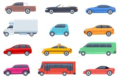 Flat cars set. Taxi and minivan, cabriolet and pickup. Bus and suv, truck. Urban, city cars and vehicles transport vector flat icons. Cabriolet and truck, car and bus, automobile pickup illustration