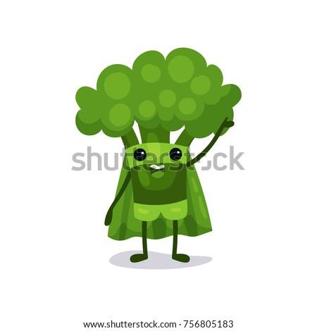 flat cartoon broccoli character