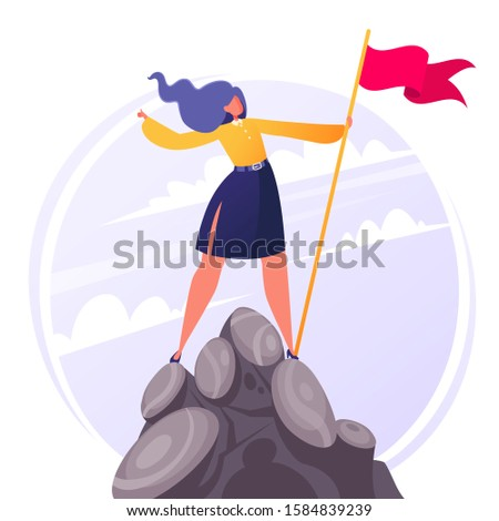 Flat cartoon businesswoman character hoisted flag on mountain top. Concept and metaphor of success in business, leadership, achievement of goals, winner, challenge, overcoming obstacles. Vector EPS