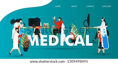 flat cartoon character. vector illustration for technology, science, lab, research, web. scientist research in the laboratory. holding large tube, researching on computer, researching liquid and plant