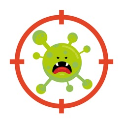 Flat Cartoon Covid-2019, Coronavirus Monster Character in Red Aim. Dangerous, Angry, Green Germ, Bacteria as Target. Angry Virus with Sharp Teeth. Isolated Stock Vector Illustration.