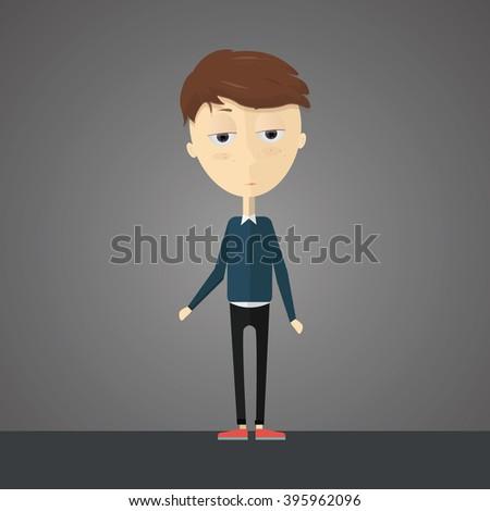 flat cartoon hipster boy