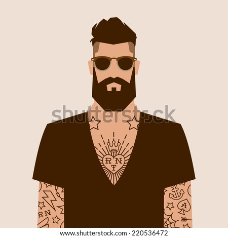 flat cartoon hipster character