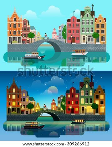 flat cartoon multicolor