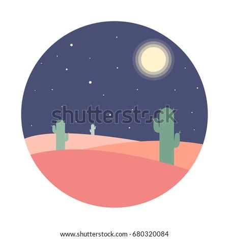 flat cartoon night desert
