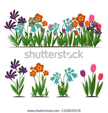 Flat cartoon set of garden flowers, vector illustration isolated on white background #1120839218