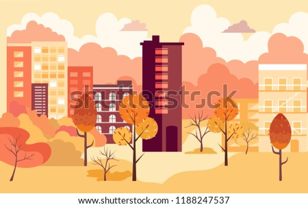 Flat cartoon style vector illustration of an autumn city street.Set buildings and trees. Street cityscape. City landscape with autumn trees in the foreground.