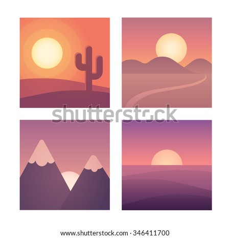 flat cartoon sunset landscape