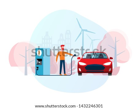 Flat cartoon vector illustration of a man recharging a red electric car at a charging station in front of windmills. Green vehicle. Fueling cars. Ecologically clean transport. Environment protection