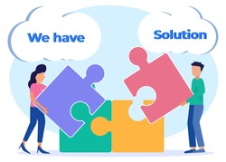 Flat Cartoon Vector Illustration. Teamwork Concept. Businesspeople Collaborate and Connect the Puzzle Pieces. Men and Women assemble Jigsaw Puzzles. Team Metaphors and Business Solutions.
