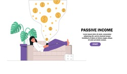 Flat cartoon vector illustration young girl resting, lying on the couch holding the mobile making money online. Passive income, investment, finance savings, freelance, distant work for banner.