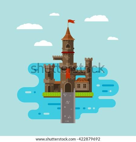 flat castle art  abstract