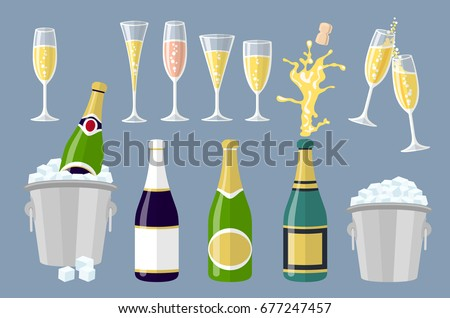 flat Champagne bottle and glasses, set of cartoon vector illustrations isolated on white background. Closed and open champagne bottle and glasses, holiday toast, cork jumping out with explosion art