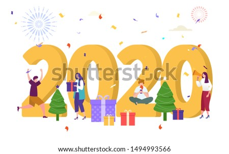 flat character doing activity on 2020 number vector illustration concept, people celebrate new year eve , with gift, firework can use for, landing page, template, ui, web, homepage, poster, banner