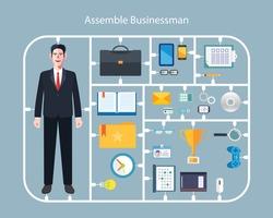 Flat character of assemble businessman concept illustrations