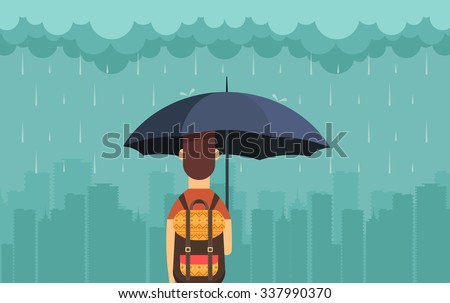 Flat Character with Umbrella Under the Rain. Big City Silhouette on the Background. Vector Illustration