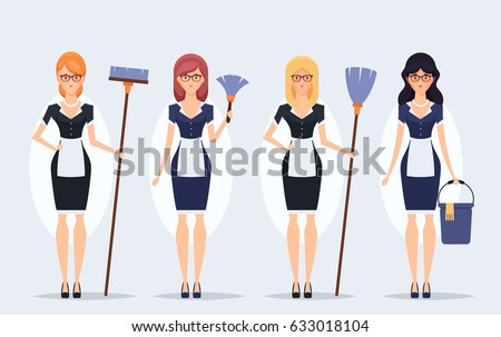 Flat Characters. Cleaning Service - Pretty Housekeepers with Supplies. Vector Set