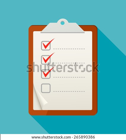Flat check list icon with long shadow. Vector illustration